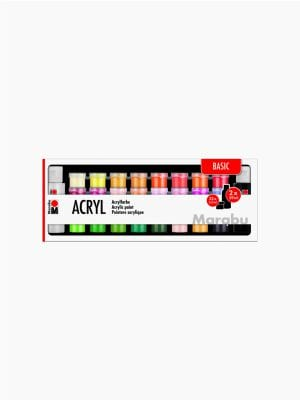 Marabu Acrylic Paints 34pc assortment BASIC 32 x 3.5ml & 2 x 59ml