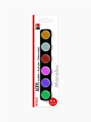 Marabu Acrylic Paints set METALLIC, 6 x 3,5 ml