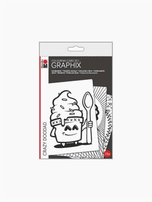 Marabu Colouring Card-Set Graphix CRAZY DOODAD