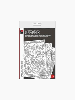Marabu Colouring Card-Set Graphix TANGLE WORLD