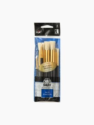Flokart Brushes – Short Handle Stencil Brush Set (8 Pcs)