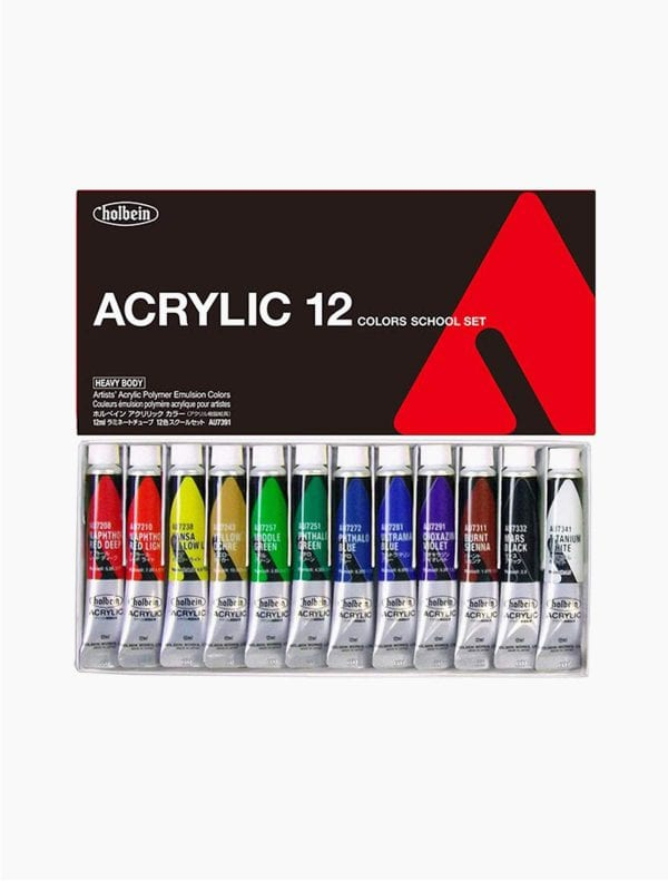 Holbein Acrylic Heavy Body Colors School Set of 12 Colors (12ml)