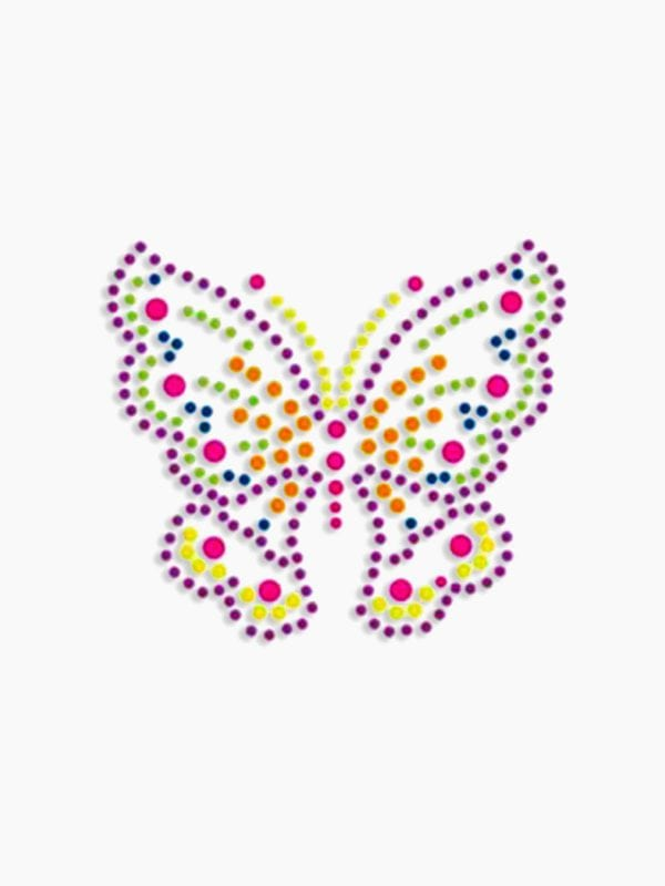 Plaid Hot Fix Iron On - Neon Rhinestud Butterfly (Med)