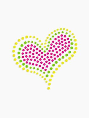 Plaid Hot Fix Iron On - Neon Rhinestud Heart (Med)