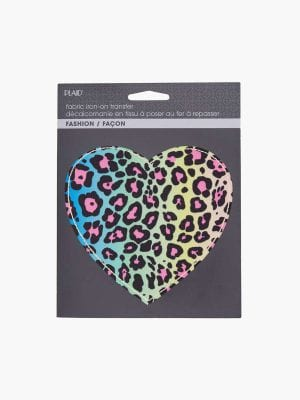 Plaid Fabric Iron On - Neon Leopard Heart